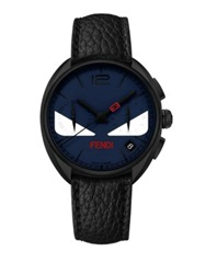 Momento Fendi Bug Chronograph Black Pvd Stainless Steel And Leather Strap Watch Black Blue