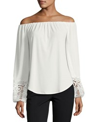 Tahari By Arthur S. Levine Off The Shoulder Knit Top W Lace Ivory