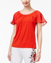 Thalia Sodi Flutter Sleeve Top Only At Macy's Risky Red