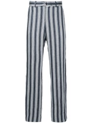 Cerruti 1881 Striped D Ring Belted Trousers Blue