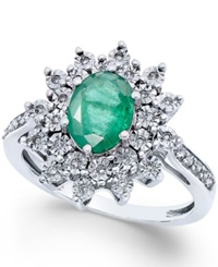 Macy's Emerald 1 1 5 Ct. T.W. And Diamond 1 5 Ct. T.W. Ring In 14K White Gold