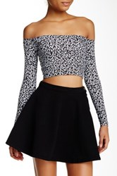 American Apparel Long Sleeve Off Shoulder Crop Tee Multi