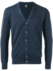 Eleventy Neck Cardigan Men Cotton Xl Blue