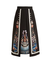 Temperley London Floral Embroidered A Line Crepe Skirt Black Multi