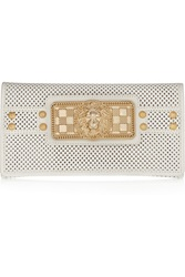 Balmain Embellished Perforated Leather Clutch White