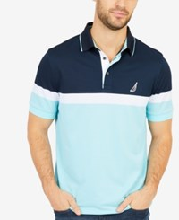 Nautica Men's Colorblocked Performance Polo Harbor Mist