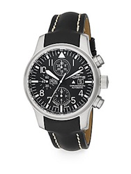 Fortis Flieger Chronograph Stainless Steel And Leather Strap Watch