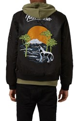 Topman Men's Embroidered Wolf Bomber Jacket