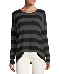 Vince Wide Striped Long Sleeve Oversized Tee Black Pattern