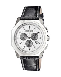 Roberto Cavalli 45Mm Men's Octagonal Chronograph Watch W Leather Strap Silver