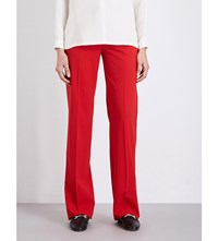 Max Mara Duomo Wide Leg Stretch Wool Trousers Red
