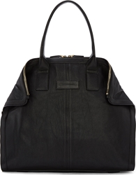 Alexander Mcqueen Black Leather Small De Manta New City Tote