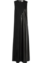 Victor Alfaro Fringed Faux Leather Maxi Dress Black