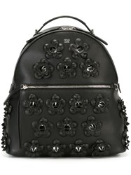 Fendi Flower Applique Backpack Black