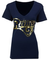 G3 Sports Women's Los Angeles Rams Foil Wordmark V Neck T Shirt Navy Metallic