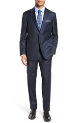 Hickey Freeman Men's Big And Tall Classic Fit Solid Wool Suit Navy Sharkskin