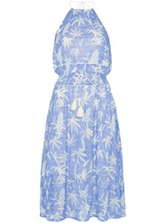 A Peace Treaty Boetica Halterneck Palm Print Cotton Blend Dress Blue