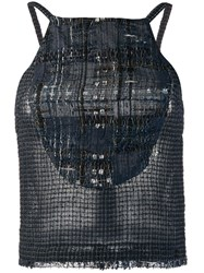 Chanel Vintage 2006'S Knitted Checked Blouse Blue
