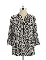 Calvin Klein Plus Patterned Zip Accented Blouse Black Birch
