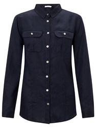John Lewis Linen Safari Shirt Navy