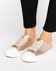 Blink Soft Toecap Lace Up Metallic Trainer Rose Gold Copper