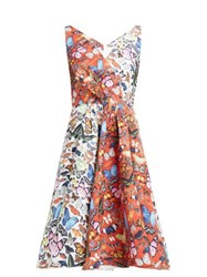 Mary Katrantzou Butterfly Printed Flared Faille Dress Red White