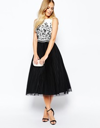 Coast Ceciel Full Dress With Ivory Cut Out Overlay Blackandwhite