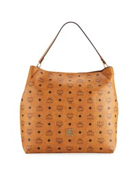 Mcm Klara Large Leather Hobo Bag Cognac