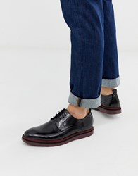 Lambretta High Shine Lace Up Leather Shoe With Chunky Sole Black