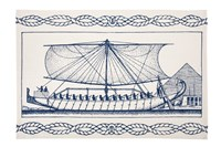 Thomas Paul Egyptian Ship Tea Towel Blue