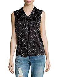 St. John Polka Dot Print Silk Blend Blouse Black White