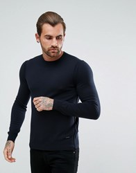 Boss Orange By Hugo Albonon Merino Knitted Jumper In Navy Navy 404