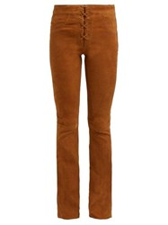 Frame Boot Cut Suede Trousers Light Brown