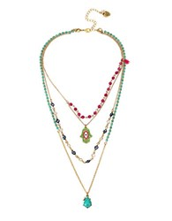 Betsey Johnson Hamsa Multi Tiered Illusion Necklace Blue