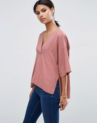 Asos V Neck Kimono Top In Soft Twill Dusty Rose Pink