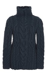 Nellie Partow Sydney Cableknit Turtleneck Navy
