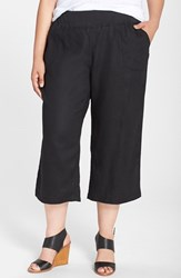 Plus Size Women's Allen Allen Crop Linen Pants Black
