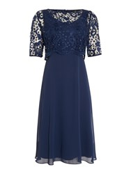 Ariella Lace Overlay Dress Navy