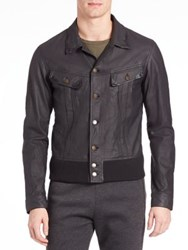 Tomas Maier Matte Lambskin Leather Jacket Slate