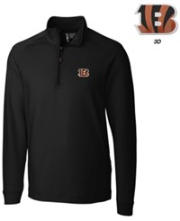 Cutter And Buck Men's Cincinnati Bengals 3D Emblem Jackson Overknit Quarter Zip Pullover Black