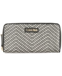 Calvin Klein Saffiano Zip Around Wallet Black White Chevron