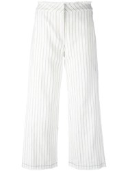 Alexander Wang T By Pinstripe Trousers White