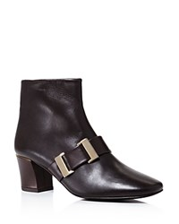 Delman Chill Mid Heel Buckle Booties Dark Brown