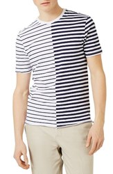 Topman Men's Spliced Stripe T Shirt Navy Multi