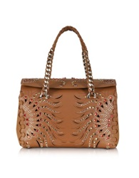 Roberto Cavalli Regina Studs And Crystal Small Satchel Brown