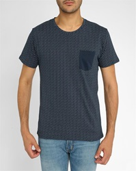 Selected Navy Shnewindiana All Over Pattern Chest Pocket Round Neck T Shirt