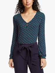 Boden Floral Printed Jersey Top Forest Bloom Stamp