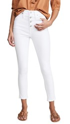 Madewell 10 High Rise Button Front Skinny Jeans Pure White