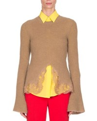 Givenchy Ribbed Lace Hem Bell Sleeve Sweater Camel