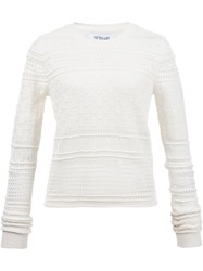 Derek Lam 10 Crosby Perforated Sweater White